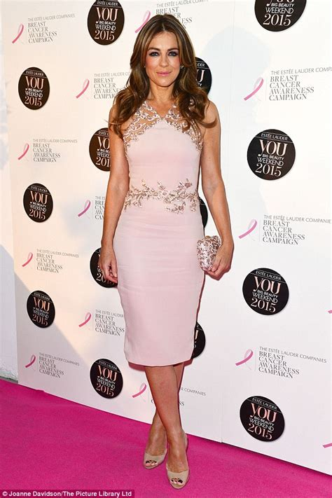 Which Elizabeth Hurley Breast Cancer Pink Frock Is Most Fab by Elizabeth Hurley In A Shape Hugging Pink Dress At You