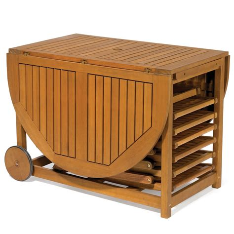 Portable Kitchen Island With Seating the gateleg patio table and stowable chairs hammacher