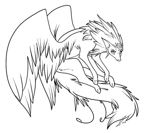flying wolf coloring page winged wolf lines by jaclynonacloudlines on deviantart