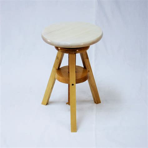 18 High Stool by Wooden Adjustable Stools With White Seats Ehemco