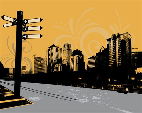 contemporary wall mural contemporary city signpost wall mural