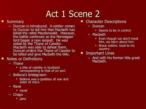 themes in macbeth act 1 scene 2 macbeth act 1 notes