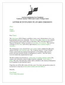 invitation letter to attend award ceremony wedding