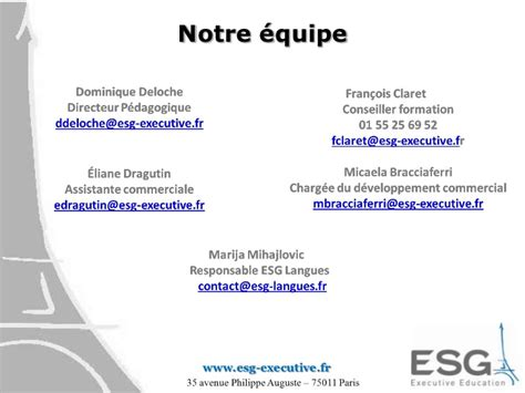 Notre Dame Executive Mba Reviews by Formation Professionnelle Esg Executive Education