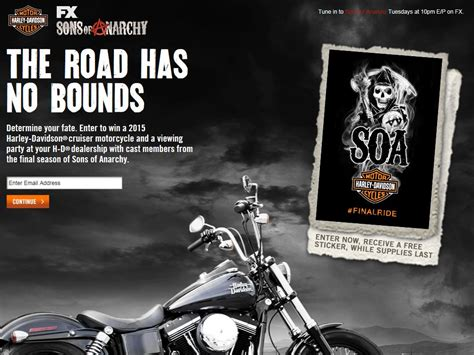 Bike Sweepstakes - harley davidson and sons of anarchy bike sweepstakes