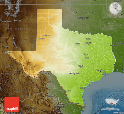 physical map texas physical map of texas darken