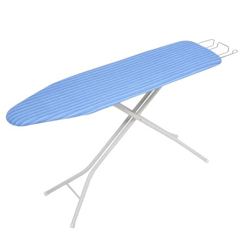 4 Leg Ironing Board With Retractable Iron Rest, Pad Blue/Blue Stripes Ivory Base