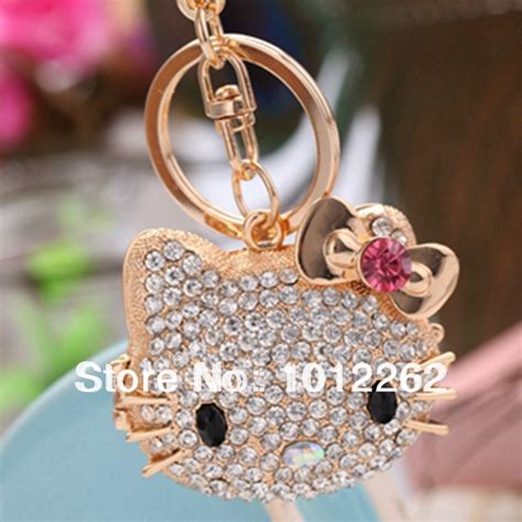 Fashion Gold Cat Lovely Bag hello lovely rhinestone cat key chain ring simulated