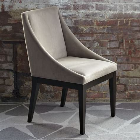 dove gray velvet dining chairs with curved dining table curved chair dove gray west elm