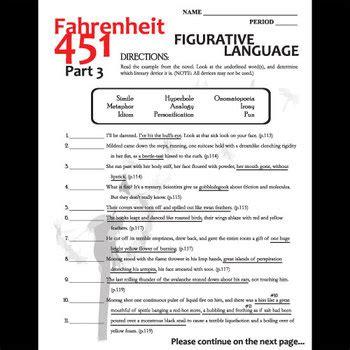 fahrenheit 451 section 3 fahrenheit 451 figurative language analyzer part 3 by