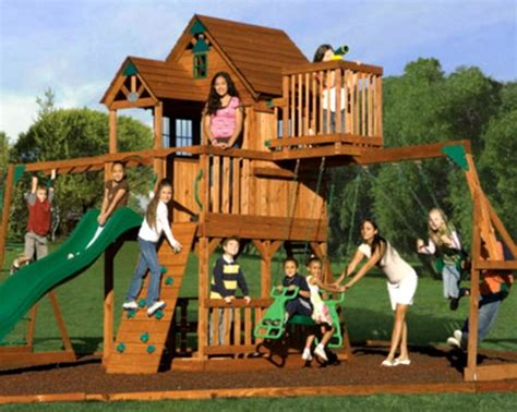 New Big 9 Kid Cedar Wood Fort Playground Slide Monkey Bars