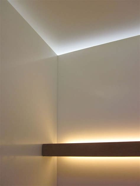 Indirect Wall Lighting Fixtures An Ipe Shelf In The Powder Room Casts Indirect Light On The Corian Walls While Daylight Filters