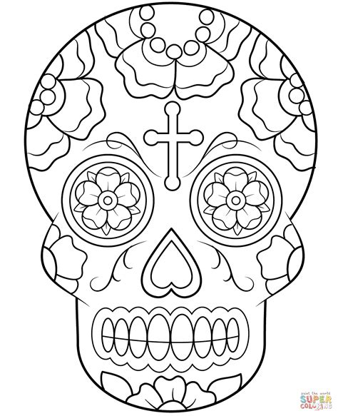 sugar skull woman coloring pages