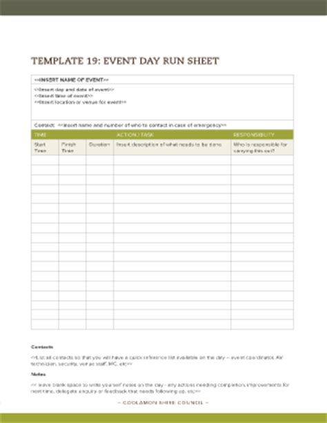 event run sheet template running sheet template for event fill printable
