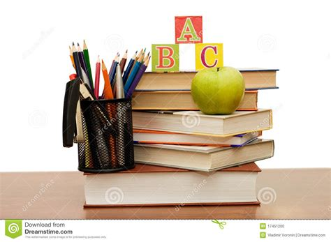 pictures of books and pencils back to school concept with books and pencils stock photo