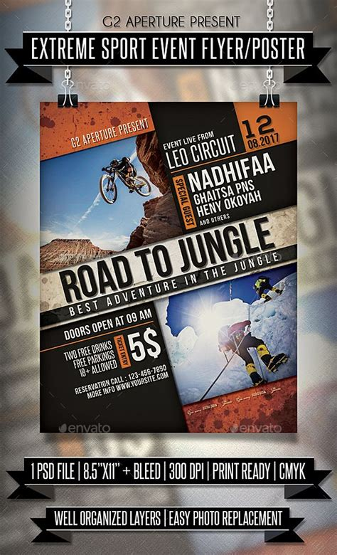 extreme sport event flyer poster event flyers event