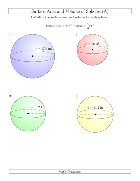 printable math worksheets volume sphere and hemisphere new 2015 03 23 volume and surface area of spheres one