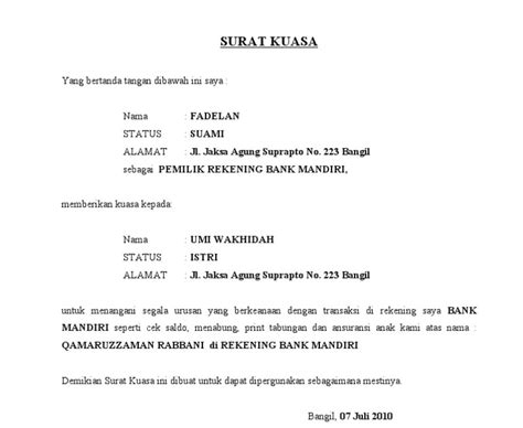 contoh surat kuasa untuk bank contoh 36