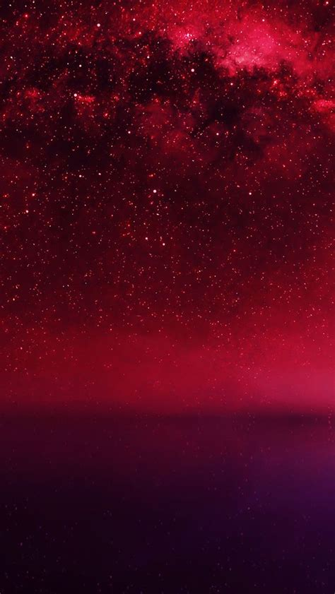 cosmos red night  lake starry space iphone wallpapers
