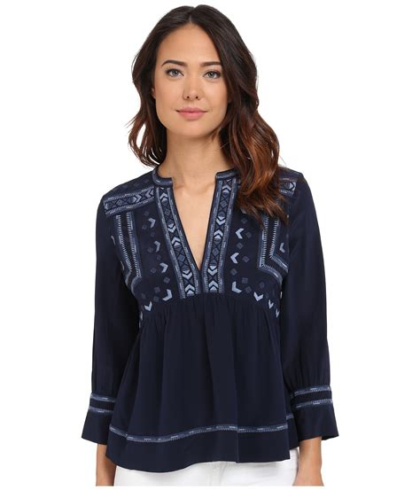 Express Embroidery Top 1 lyst sleeve embroidered top in blue