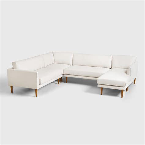 shopping sofa cost plus world market ivory nica sectional sofa