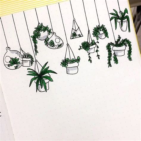 doodle plants hanging plant doodles in my bujo i did before journal