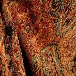 drapery upholstery fabric m9842 garnet rust orange green black tapestry damask