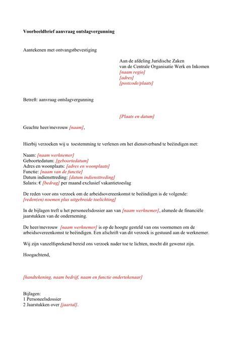 toestemming verlenen voorbeeld voorbeeldbrief aanvraag ontslagvergunning zibb udocstore nl