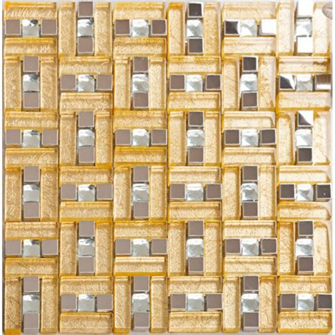 304 stainless steel mosaic tile yellow crystal glass