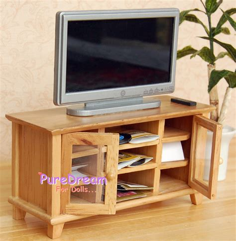 tv bench benedikte 140cm 1 1 12 dollhouse miniature wooden tv cabinet stand bench