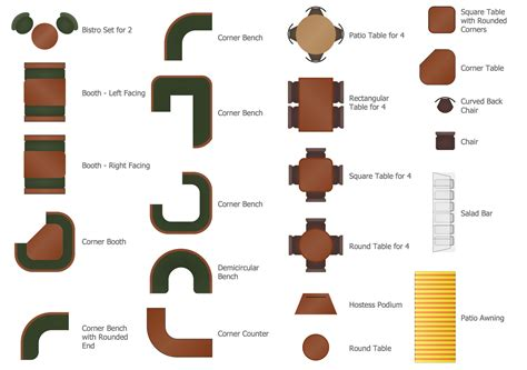 design elements furniture cafe and restaurant floor plan solution conceptdraw com