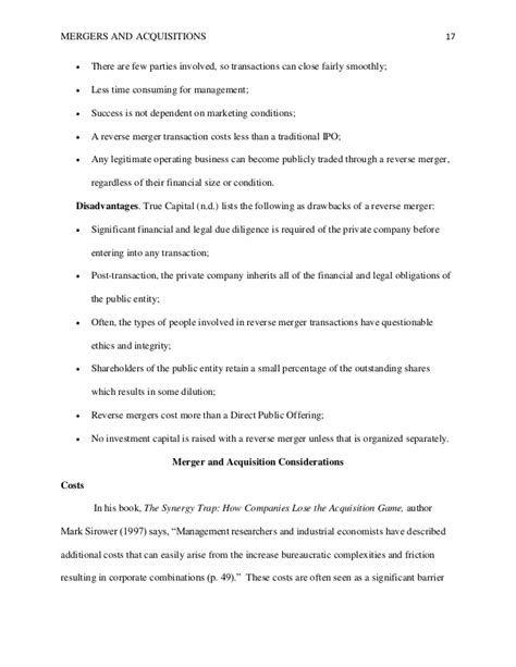 dissertation on mergers and acquisitions master thesis mergers and acquisitions