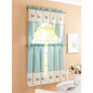 Better Homes And Gardens Kitchen Curtains Better Homes And Garden Embroidered Butterfly Window Kitchen Curtains Set Of 2 Aqua Walmart