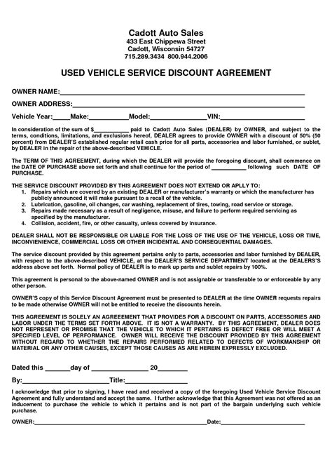 Sle Letter Of Agreement Car Auto Sales Contract Template Masir