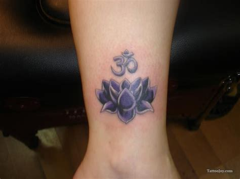 lotus flower with om tattoo designs om symbol and lotus flower on ankle