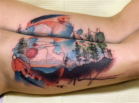 32 rich watercolor landscape tattoo designs amazing