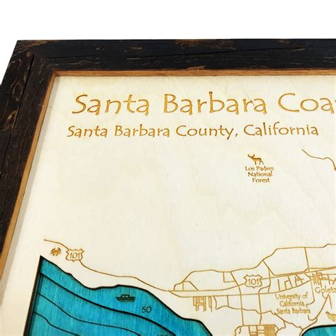 santa barbara woodworking santa barbara ca 3 d nautical wood map 16 quot x 20 quot on