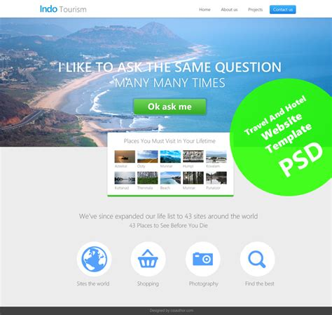 beautiful travel and hotel website template psd for free