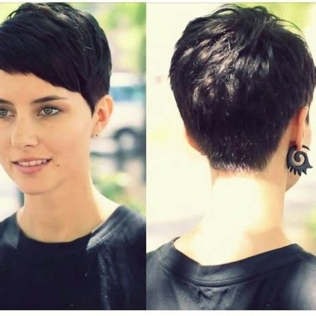 black hairstyle pixie cut front long in the back pixie cut in the back
