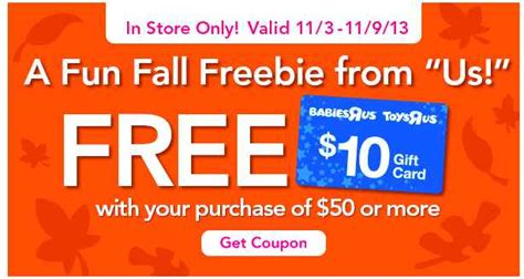 Toys R Us Gift Card Cvs - toys r us coupon free 10 gift card with purchase