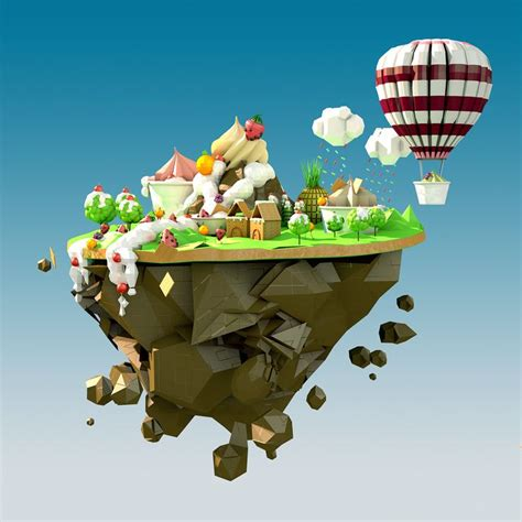simple voxel floating island blender 3d youtube low poly sweets fruits world on behance low poly