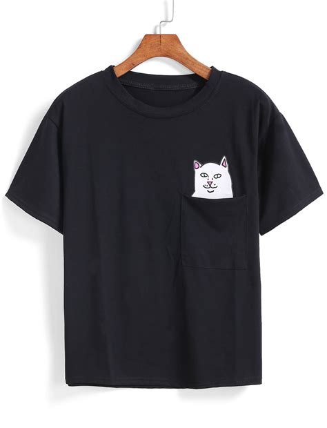 cat patch with pocket t shirt