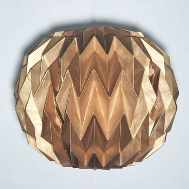 Folding Paper Lanterns - copper geometrical shaped folding paper lantern