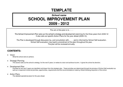 school improvement plan template pin this comprehensive school improvement plan will be
