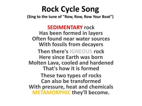 row row your boat integer song ppt rock cycle song sing to the tune of quot row row row