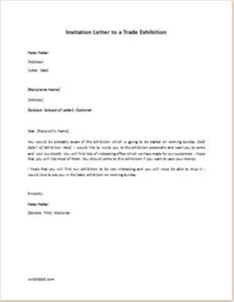 Invitation Letter Format For Exhibition Invitation Letter To A Trade Exhibition Writeletter2