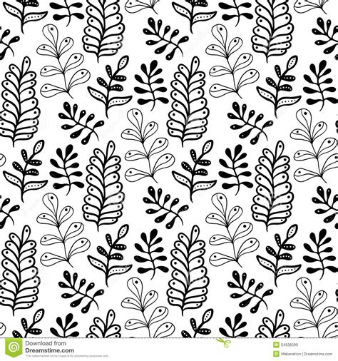 black and white hand pattern hand drawn leaves background in black and white color