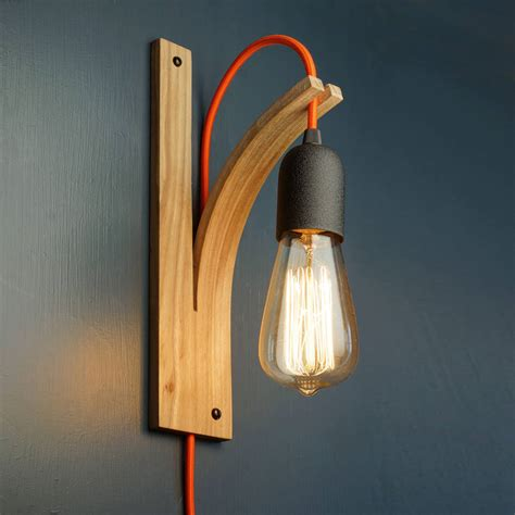 wooden light wall bracket light ash grey and wall plug