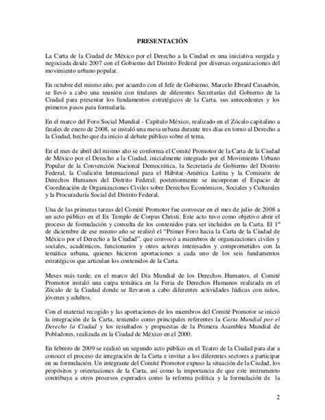 carta oficial mexico carta de la ciudad de mexico por el derecho a la ciudad