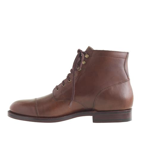 cap toe boots j crew ludlow cap toe boots in brown for brown
